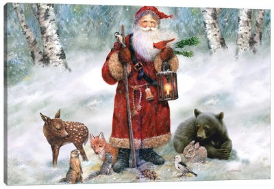 Woodland Santa Canvas Art Print