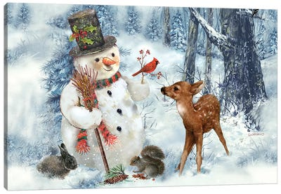 Woodland Snowman Canvas Art Print
