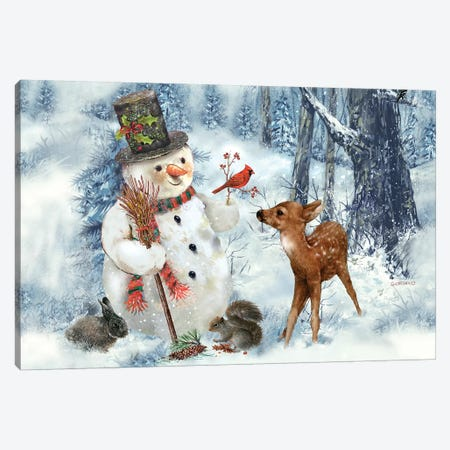 Woodland Snowman Canvas Print #GIO81} by Giordano Studios Canvas Art
