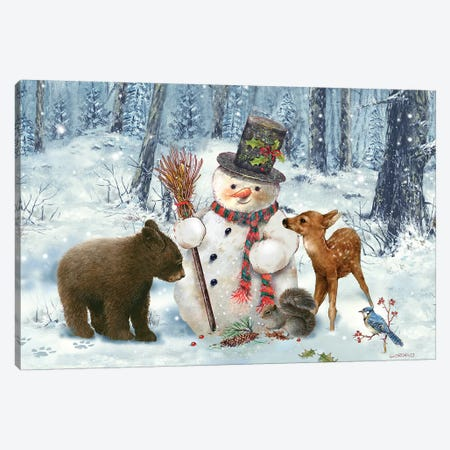 Woodland Snowman Canvas Print #GIO82} by Giordano Studios Canvas Wall Art