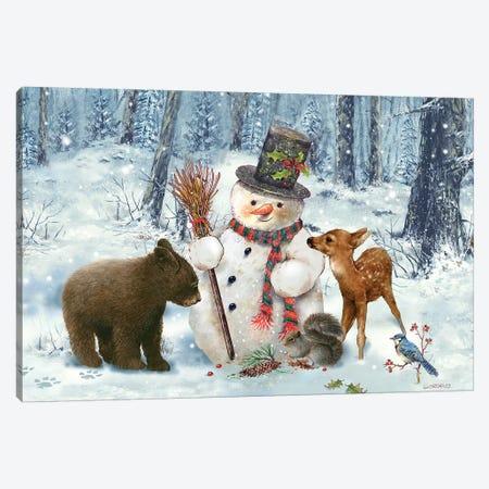 Woodland Snowman Canvas Print #GIO82} by Giordano Studios Canvas Wall Art