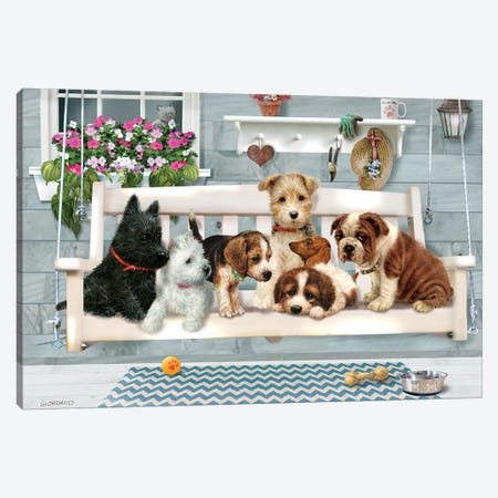 (Pups Only) Porch Pals 3-Piece Canvas #GIO83} by Giordano Studios Canvas Art
