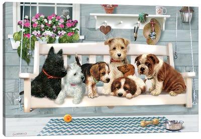 (Pups Only) Porch Pals Canvas Art Print