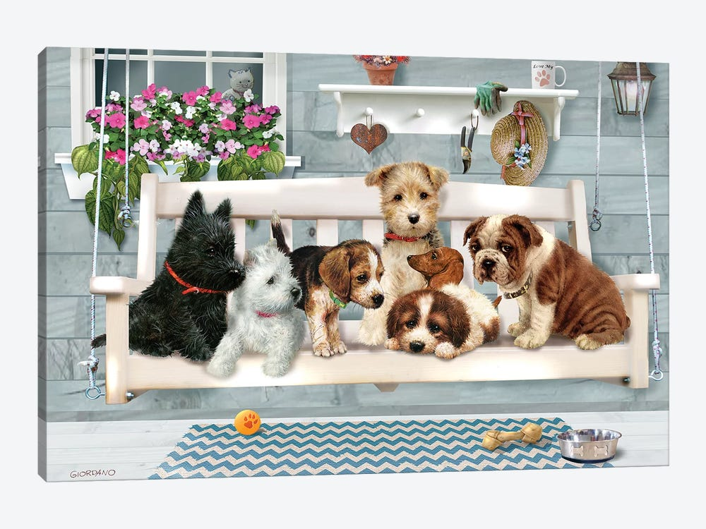 (Pups Only) Porch Pals by Giordano Studios 1-piece Canvas Art Print