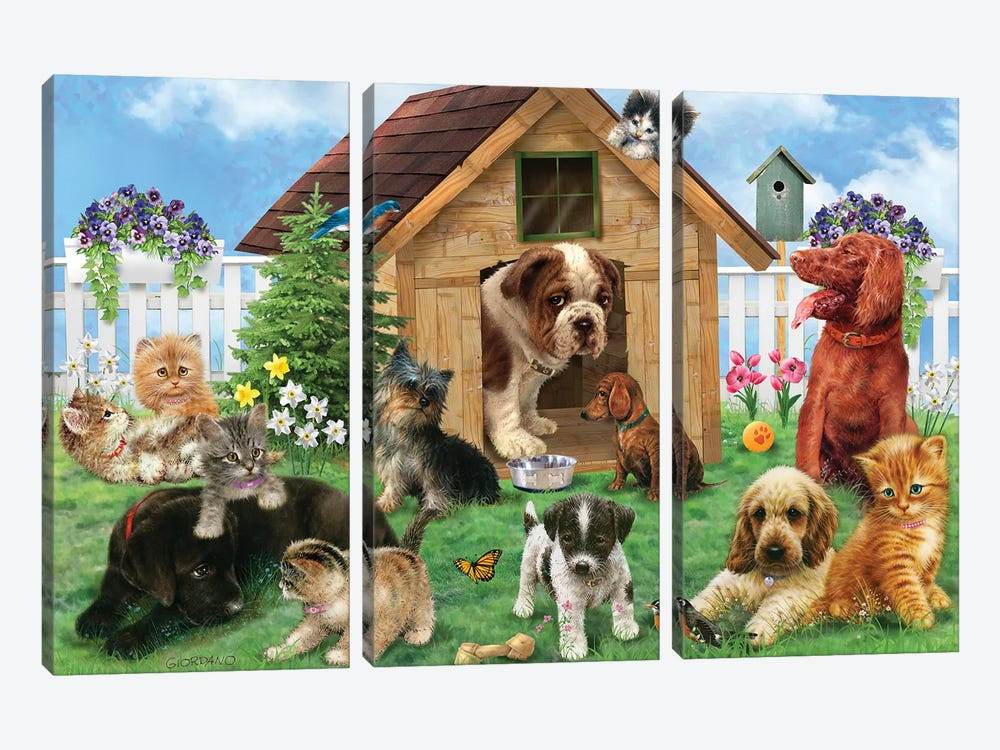 Aftenoon Playdate by Giordano Studios 3-piece Canvas Art