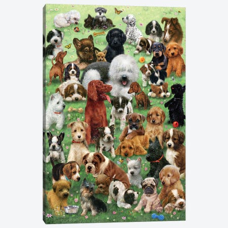 Field O Puppies 3-Piece Canvas #GIO88} by Giordano Studios Canvas Artwork