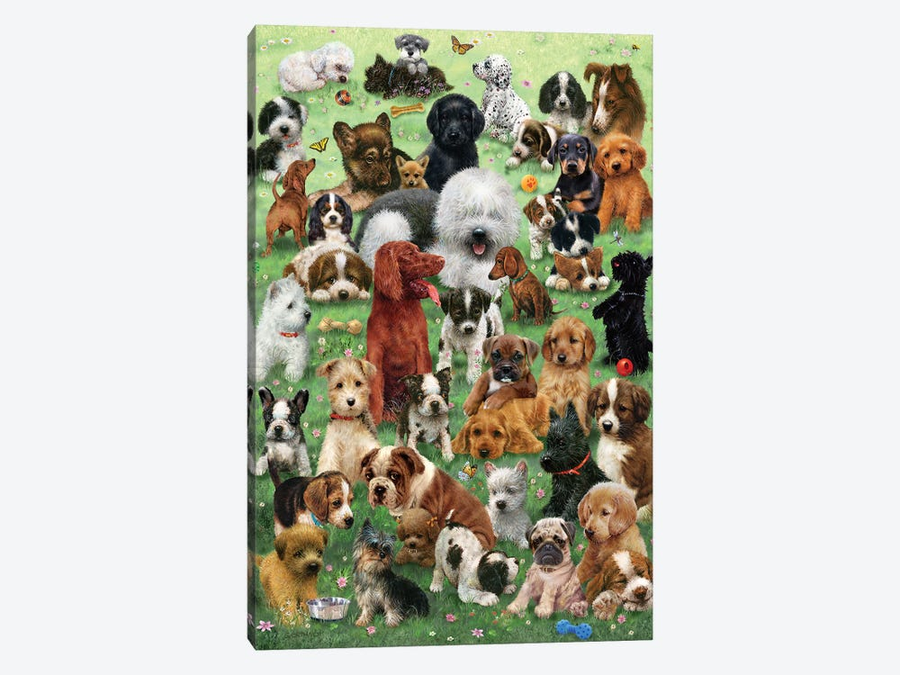 Field O Puppies by Giordano Studios 1-piece Canvas Art
