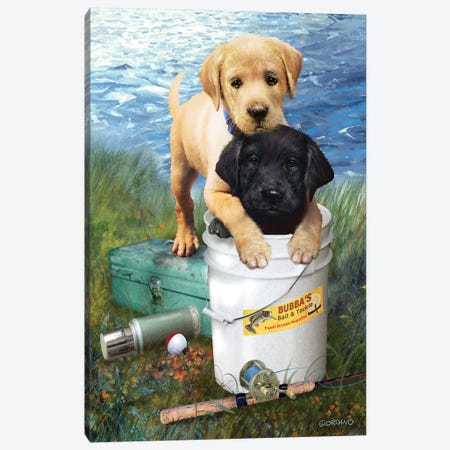 Fishing Buddies Canvas Print #GIO89} by Giordano Studios Canvas Art
