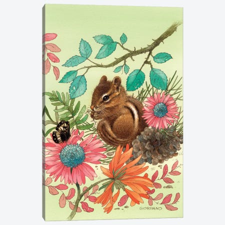 Chipmunk's Friend Canvas Print #GIO8} by Giordano Studios Canvas Wall Art