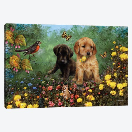 Labs In The Meadow Canvas Print #GIO93} by Giordano Studios Art Print