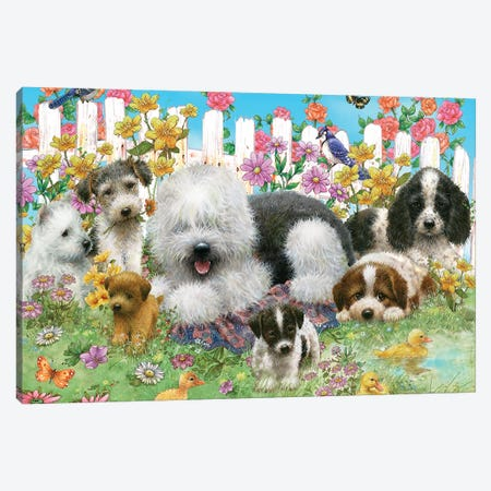 Picket Fence Pups Canvas Print #GIO96} by Giordano Studios Canvas Wall Art