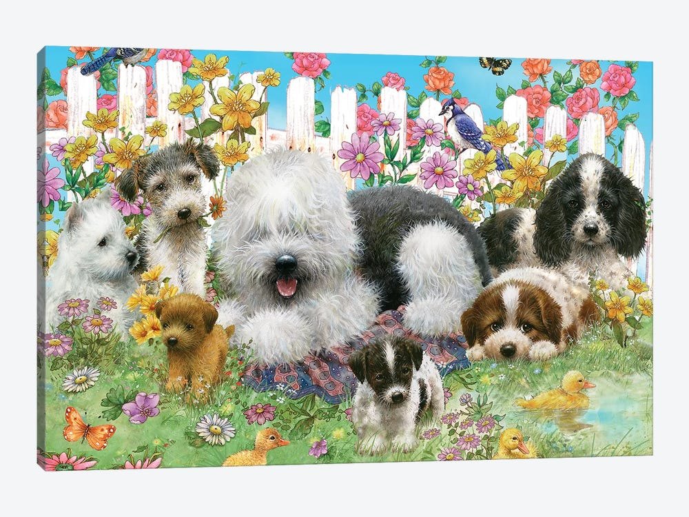 Picket Fence Pups by Giordano Studios 1-piece Art Print