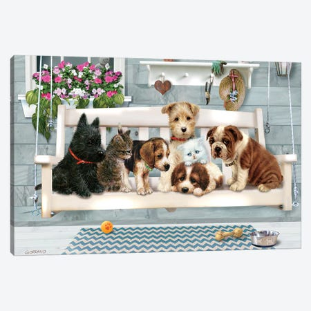 Porch Pals Canvas Print #GIO97} by Giordano Studios Canvas Artwork