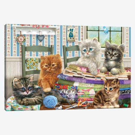 Quilting Kitties Canvas Print #GIO98} by Giordano Studios Canvas Art Print