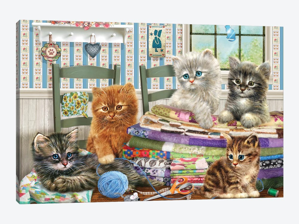 Quilting Kitties by Giordano Studios 1-piece Canvas Print