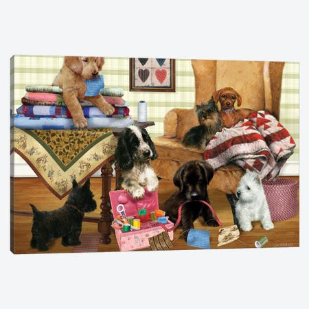 Quilting Pups Canvas Print #GIO99} by Giordano Studios Canvas Print