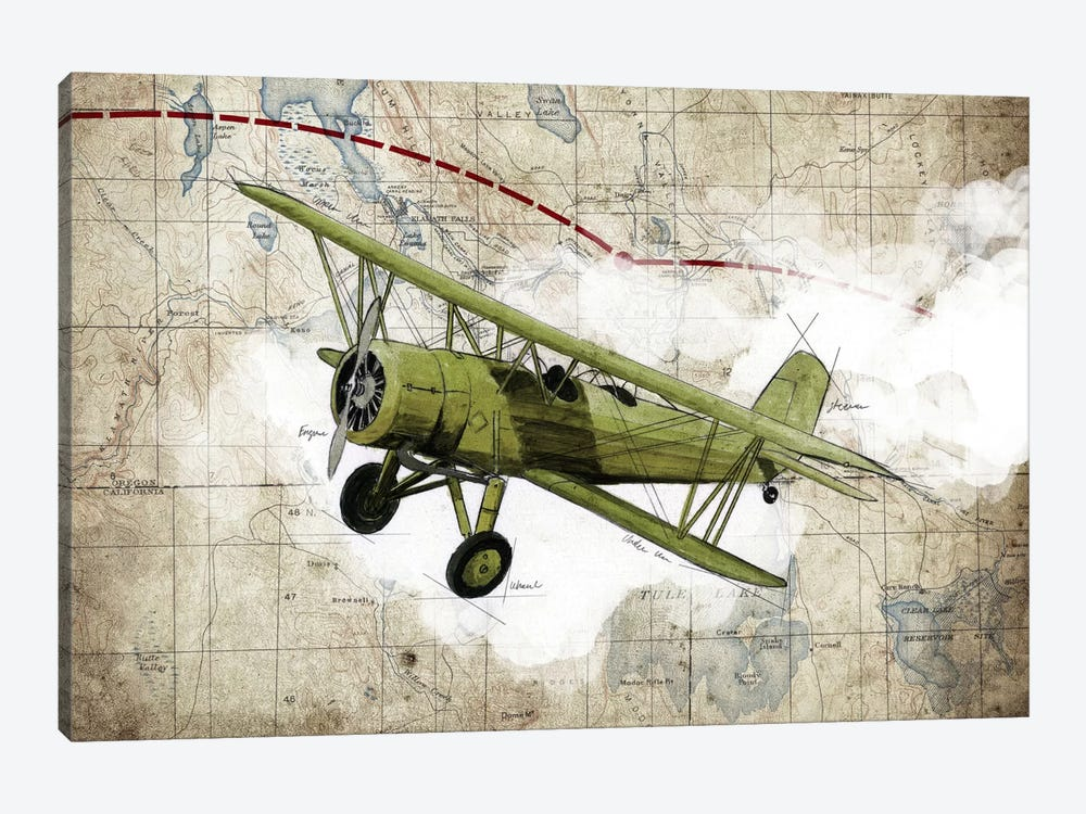 Biplane II by GraphINC Studio 1-piece Canvas Wall Art