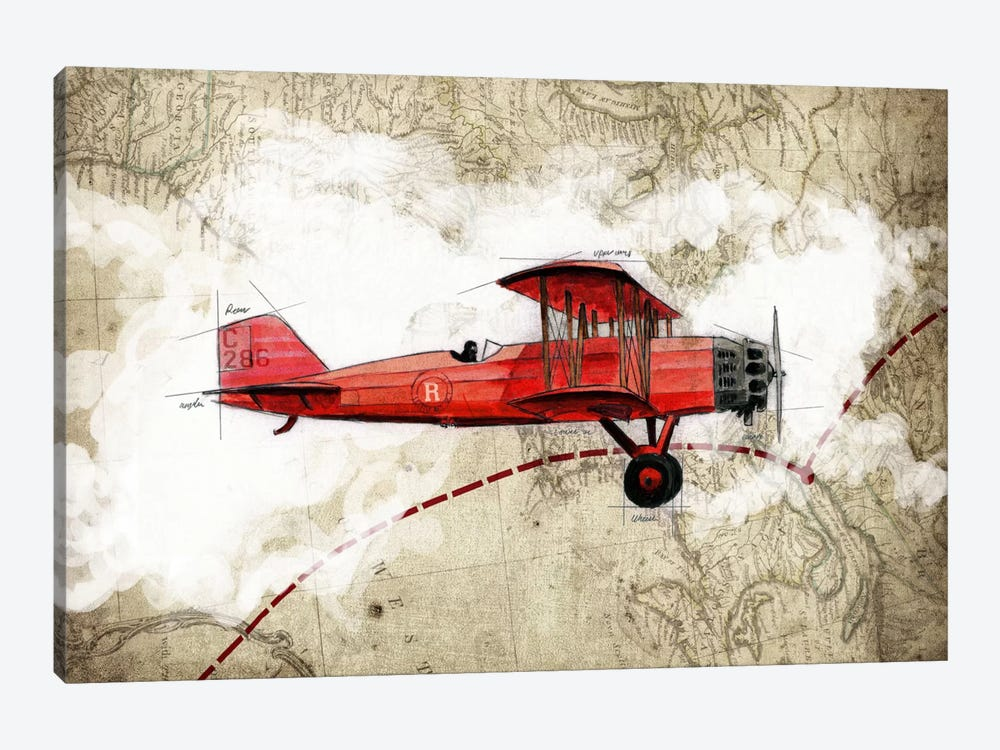 Biplane III 1-piece Canvas Print