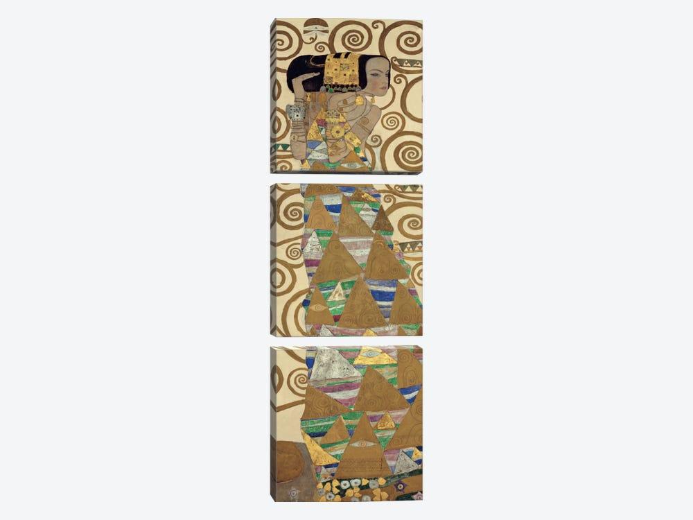 Expectation, Vertical by Gustav Klimt 3-piece Canvas Art