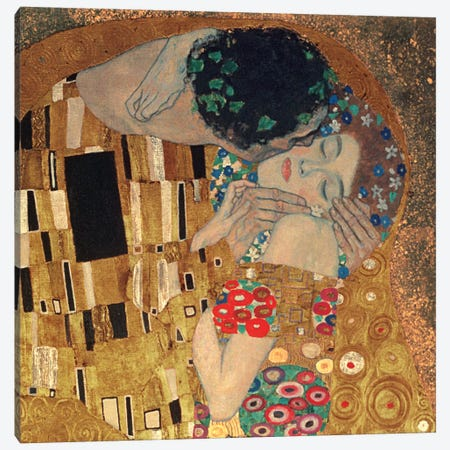 Il Bacio, Square Detail Canvas Print #GKL22} by Gustav Klimt Canvas Art