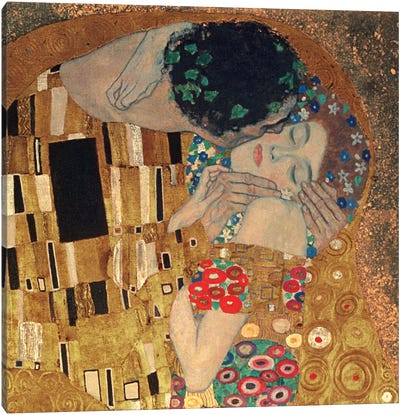 Il Bacio, Square Detail by Gustav Klimt Canvas Art Print