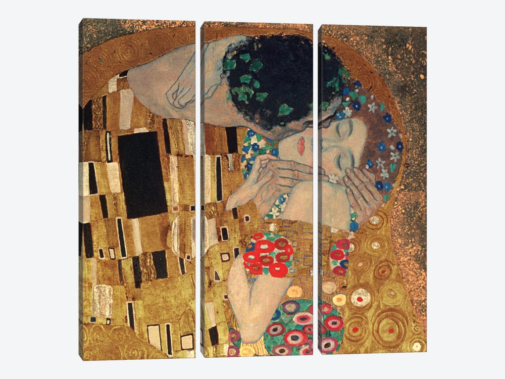 Il Bacio, Square Detail by Gustav Klimt 3-piece Canvas Artwork
