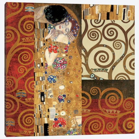Klimt Details (The Kiss) Canvas Print #GKL28} by Gustav Klimt Canvas Wall Art