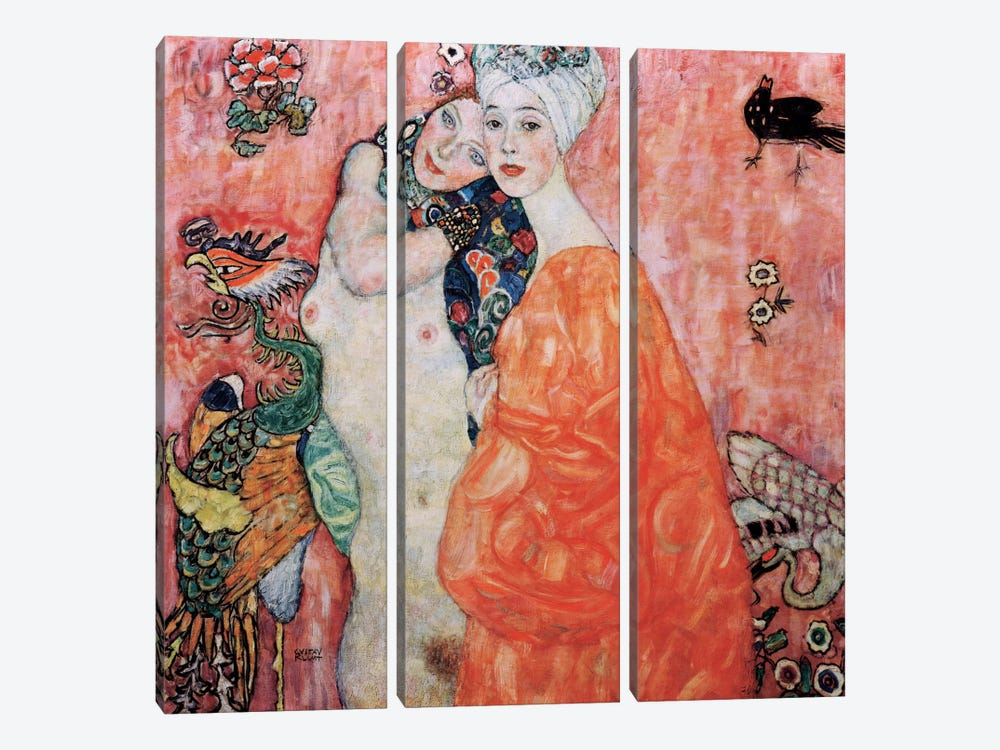 The Friends (Die Freundinnen) 1916 by Gustav Klimt 3-piece Canvas Artwork