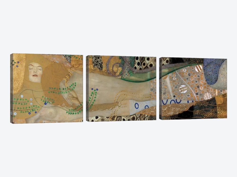 Sea Serpents, Detail II by Gustav Klimt 3-piece Canvas Art