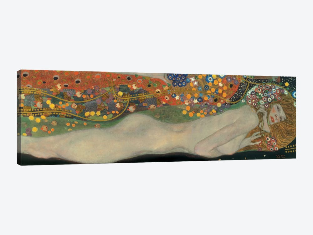 GUSTAV KLIMT Water Serpents Canvas Framed Print Wall Art ~ More Size