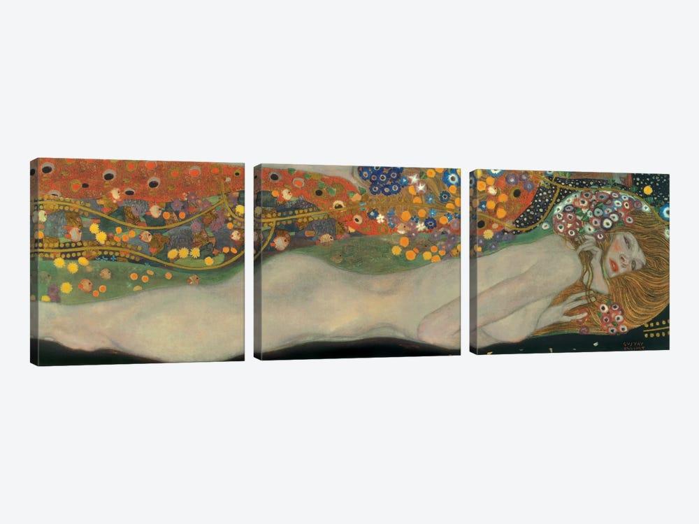 Sea Serpents, Detail IV by Gustav Klimt 3-piece Canvas Wall Art