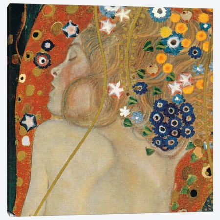 Sea Serpents, Square Detail II Canvas Print #GKL47} by Gustav Klimt Canvas Print