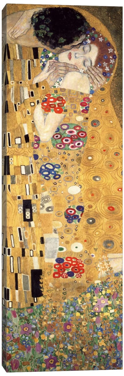 The Kiss, Cropped Vertical by Gustav Klimt Canvas Art Print