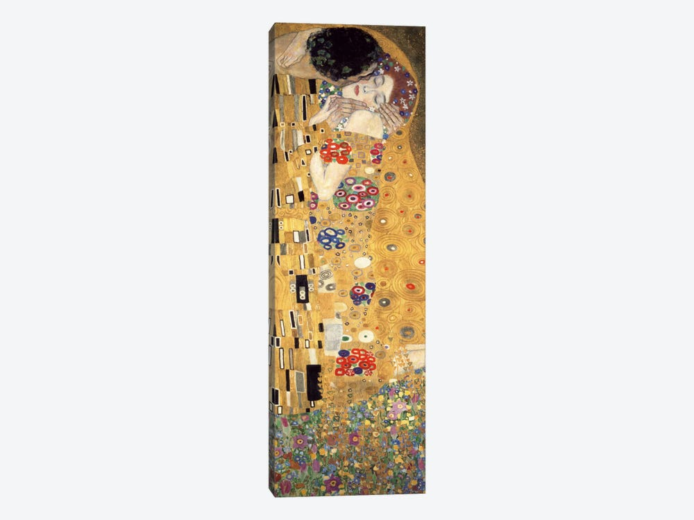 The Kiss, Cropped Vertical by Gustav Klimt 1-piece Canvas Print