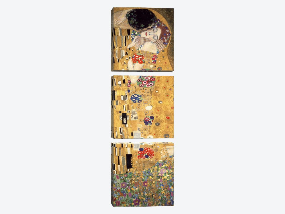 The Kiss, Cropped Vertical by Gustav Klimt 3-piece Art Print