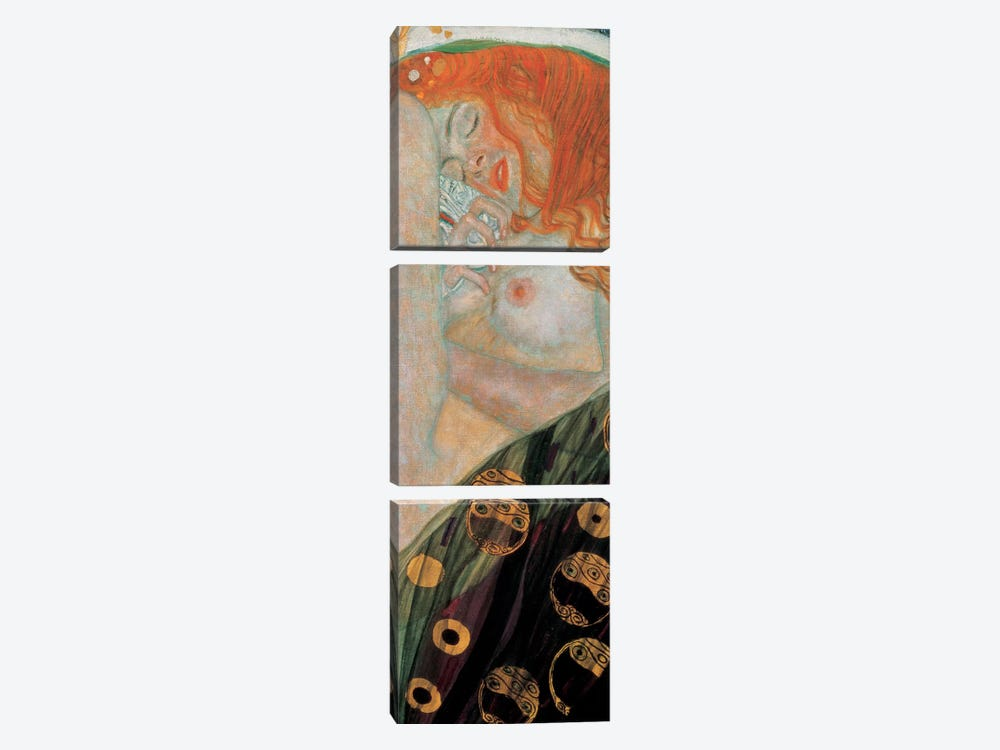 Danae, Vertical by Gustav Klimt 3-piece Canvas Print
