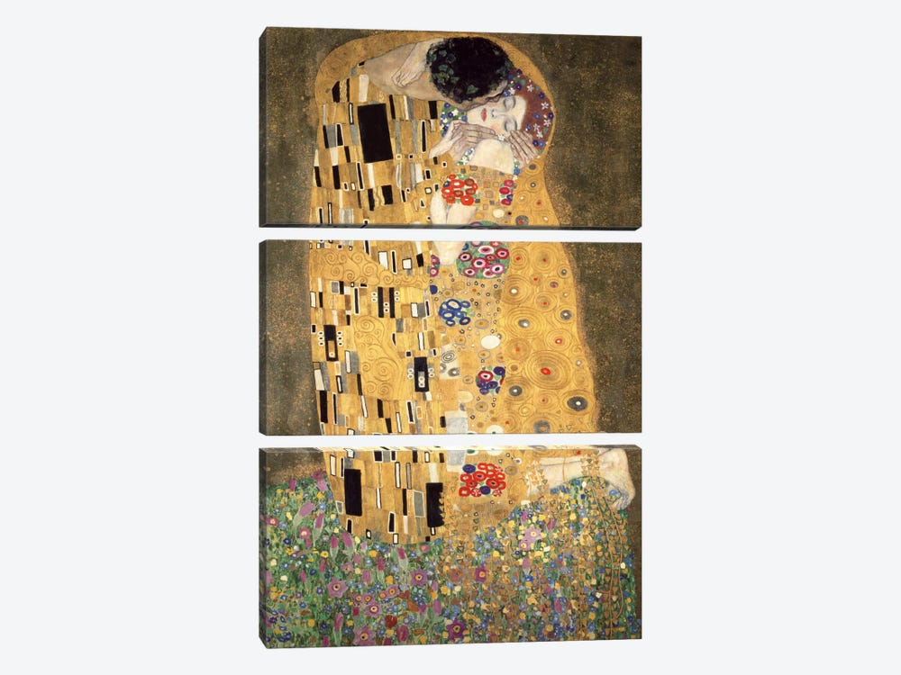 Der Kuss by Gustav Klimt 3-piece Canvas Art