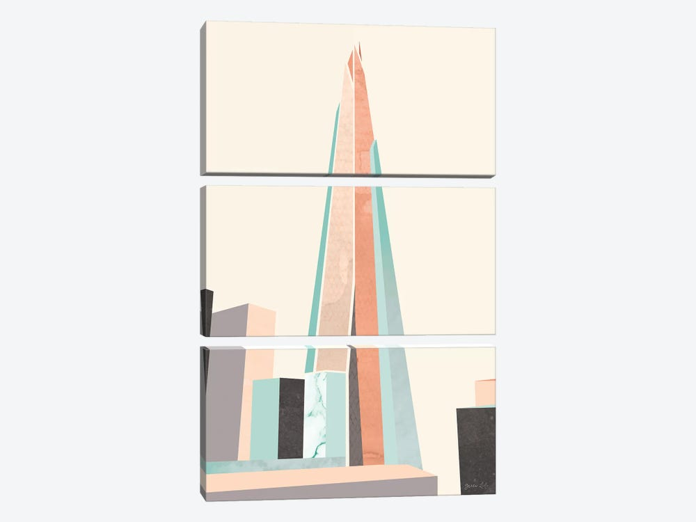 Graphic Pastel Architecture I by Green Lili 3-piece Canvas Art Print