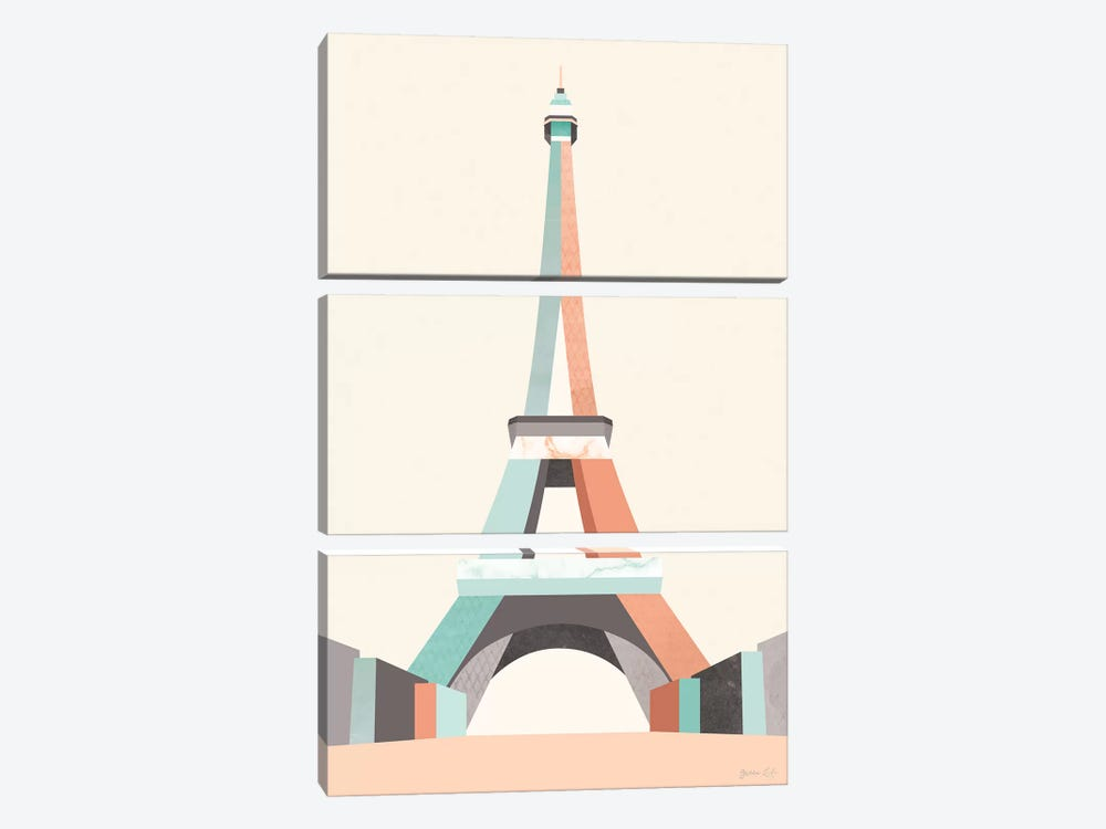 Graphic Pastel Architecture II by Green Lili 3-piece Canvas Artwork