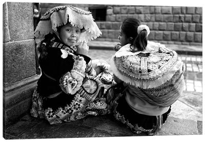 Peruvian Girl Bw Canvas Art Print
