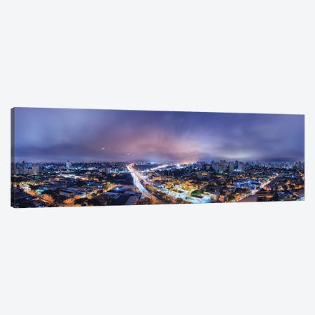 Night Cityscape Pano Canvas Print #GLM463} by Glauco Meneghelli Canvas Art Print