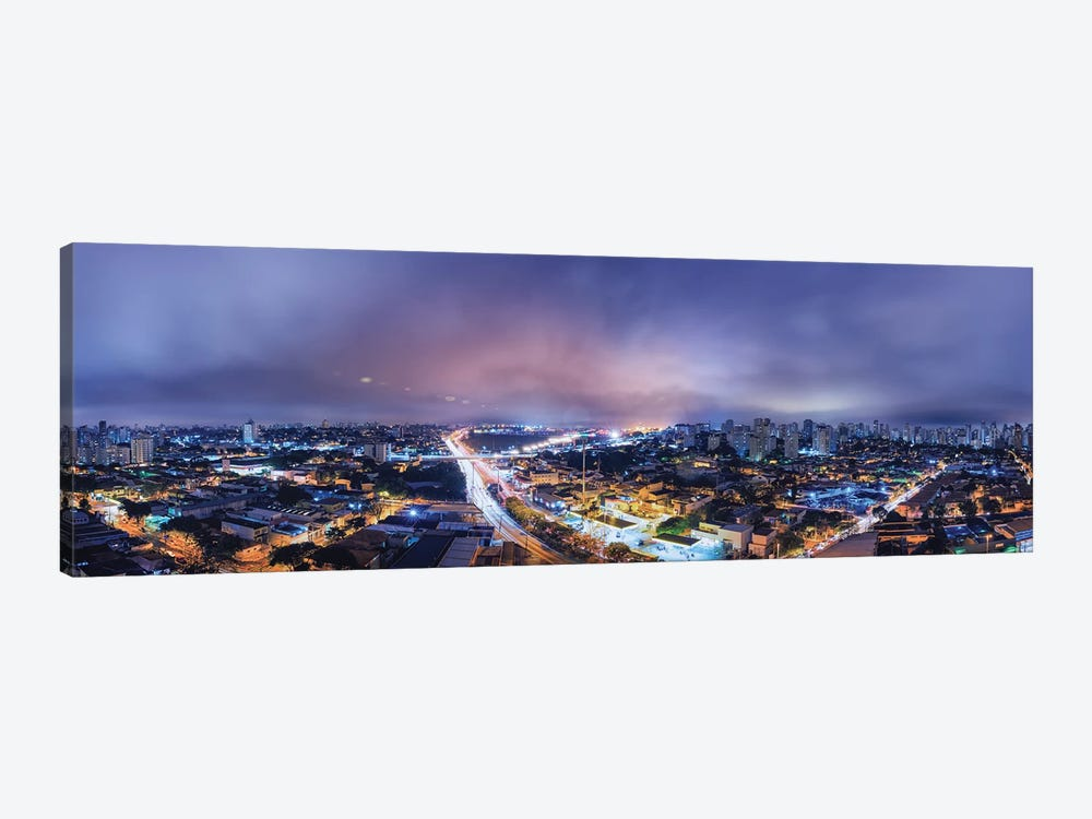 Night Cityscape Pano by Glauco Meneghelli 1-piece Canvas Art Print