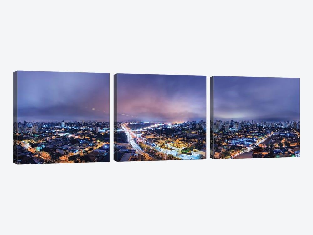 Night Cityscape Pano by Glauco Meneghelli 3-piece Canvas Art Print