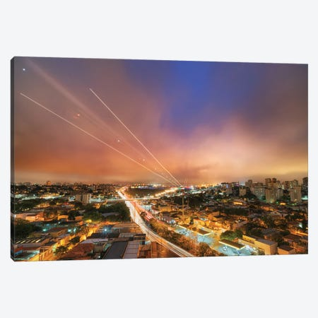 Night Cityscape Canvas Print #GLM464} by Glauco Meneghelli Canvas Wall Art