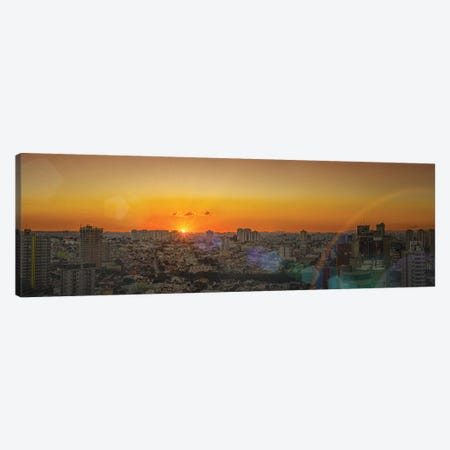 Sunset At City Panorama Canvas Print #GLM538} by Glauco Meneghelli Canvas Print