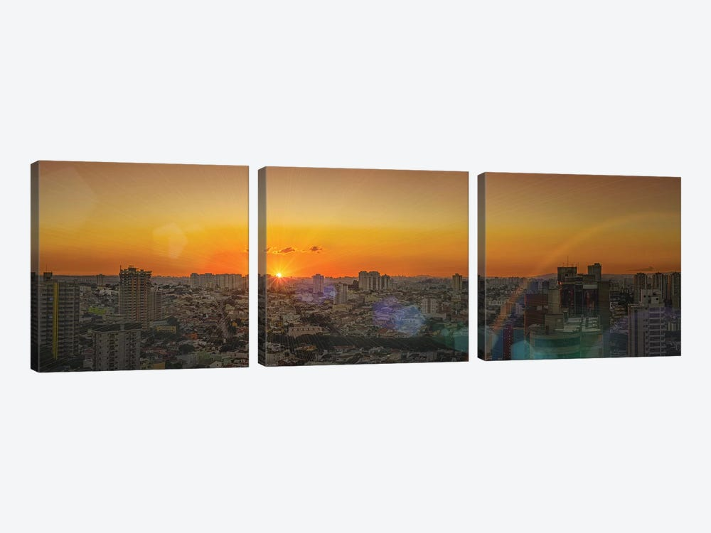 Sunset At City Panorama by Glauco Meneghelli 3-piece Canvas Wall Art