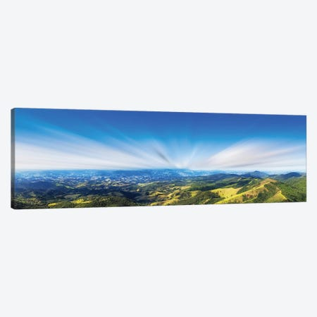 Sunset Over Field Panorama Canvas Print #GLM540} by Glauco Meneghelli Canvas Wall Art