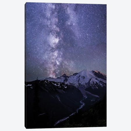 USA, Washington State. The Milky Way looms above Mt. Rainier, Mt. Rainier National Park Canvas Print #GLU10} by Gary Luhm Canvas Print