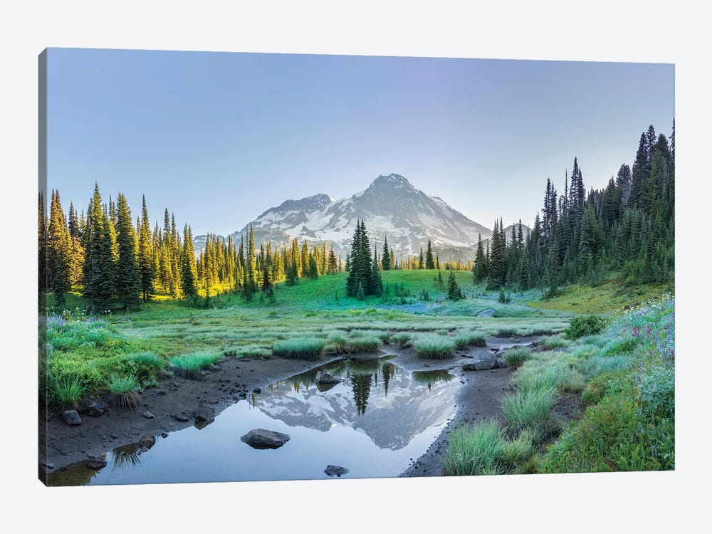 USA. Washington State. Mt. Rainier reflected in tarn amid wildflowers, Mt. Rainier National Park II by Gary Luhm 1-piece Canvas Art Print