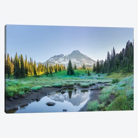 USA. Washington State. Mt. Rainier reflected in tarn amid wildflowers, Mt. Rainier National Park II Canvas Print #GLU15} by Gary Luhm Canvas Wall Art